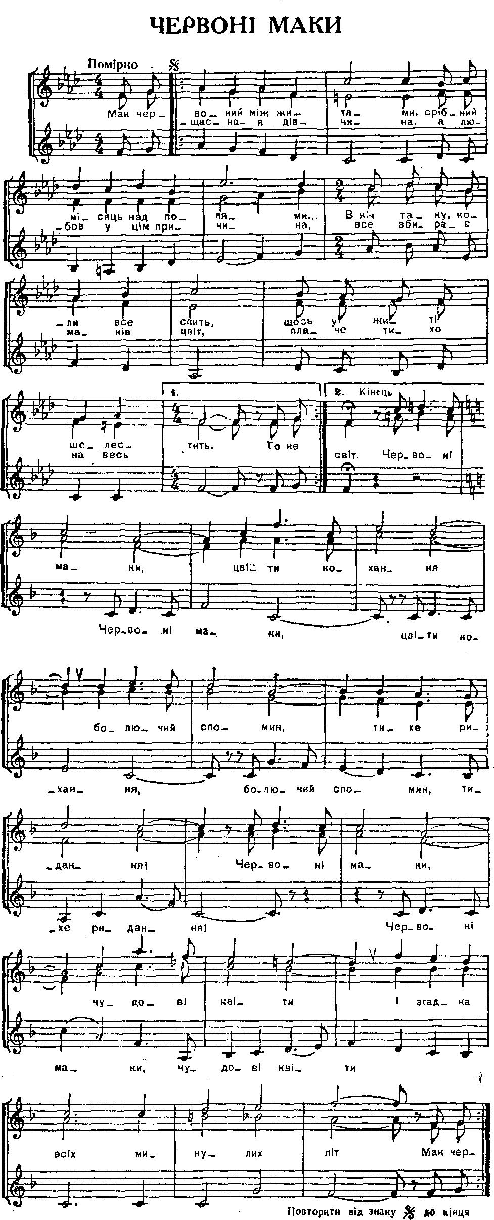 Українська народна пісня червоні маки